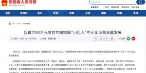 """陕西省2150万元支持专精特新""""小巨人""""中小企业高质量发展"""